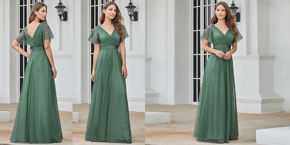 Stunning V-Neck Floor-Length Bridesmaid Dress