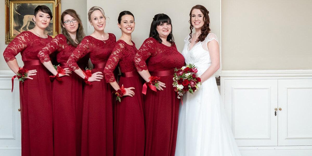 bridesmaids and bride