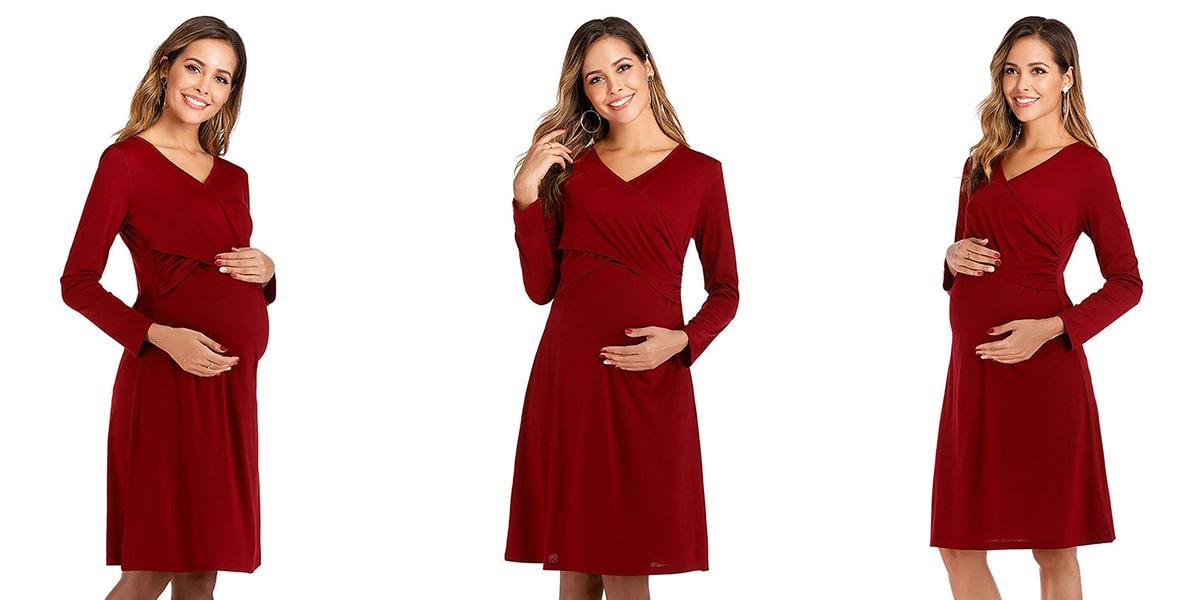 Stylish V-Neck Long Sleeved Maternity Dress