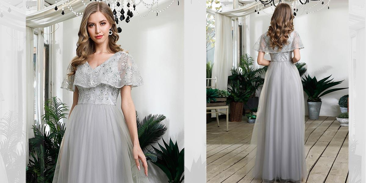 Beautiful Gray Wedding Guest Dress
