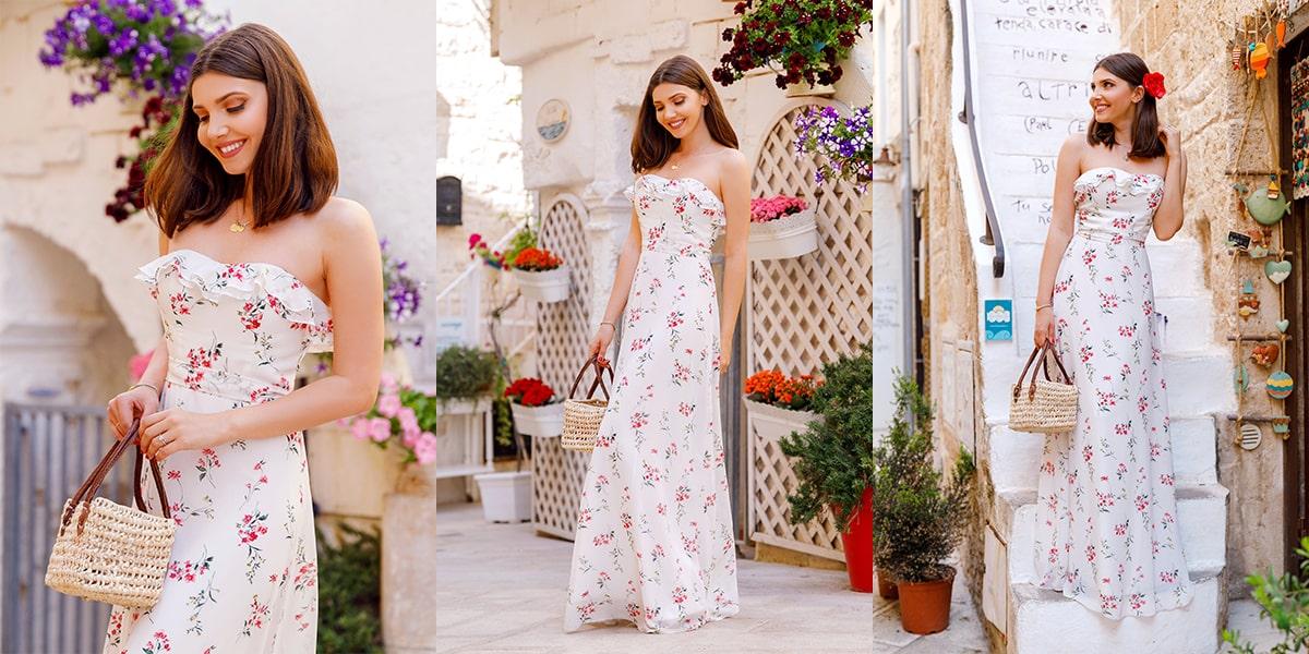 Strapless Ruffles Floral Print Maxi Dress