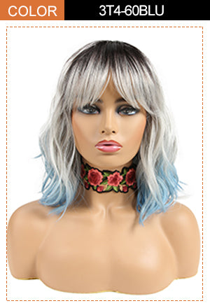 synthetic wavy bob wig with bangs blue