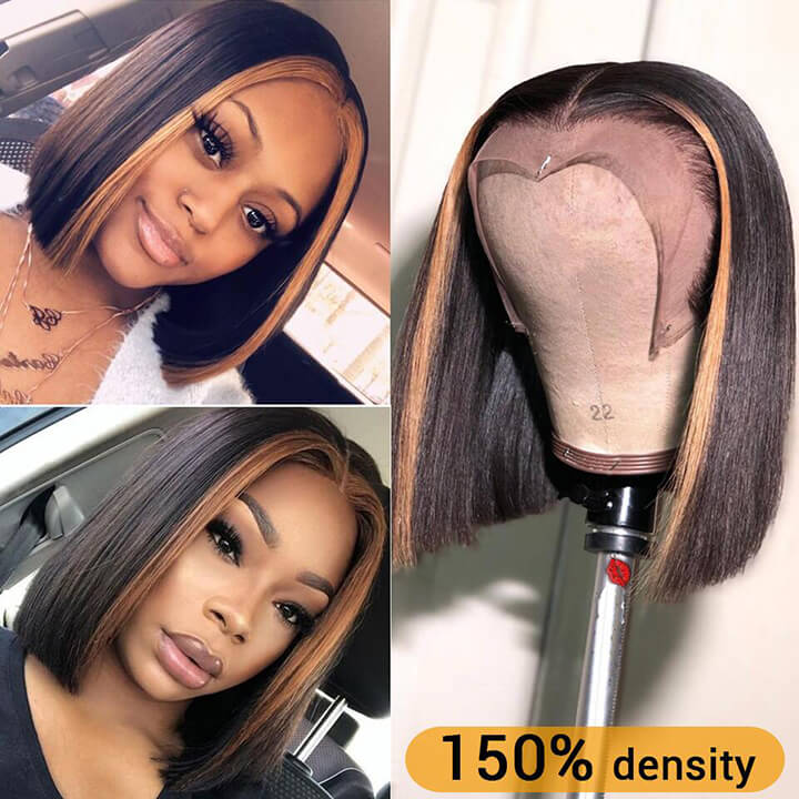 Highlight Bob Wig Ombre Brown Honey Blonde Short Bob Wigs for Black Women Transparent Lace Front Wig Colored Human Hair Wigs