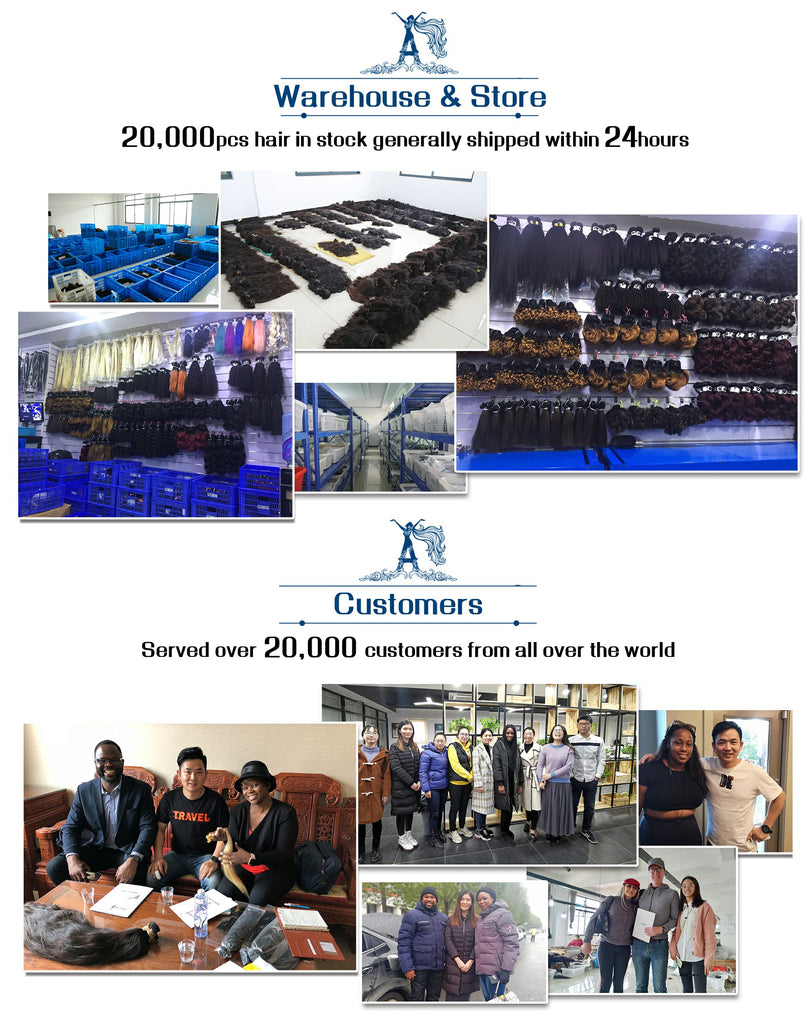 20,000pcs hair in stock generally shipped within 24hours.Served over 20,000 customers from all over the world.