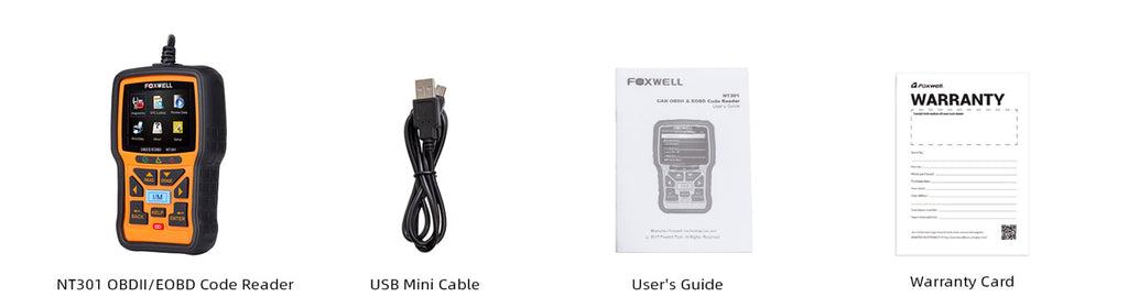 Foxwell NT301 Package List