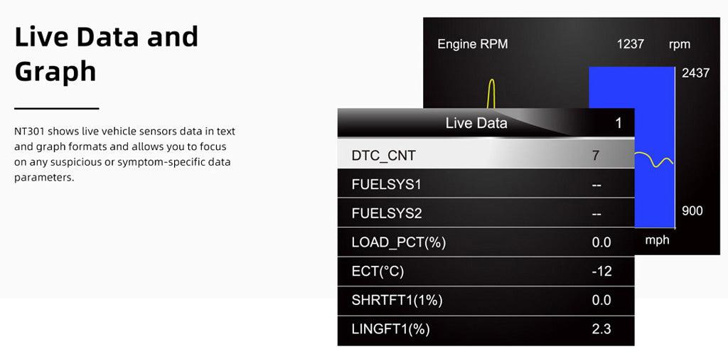 Foxwell NT301 Show Live Sensor Data