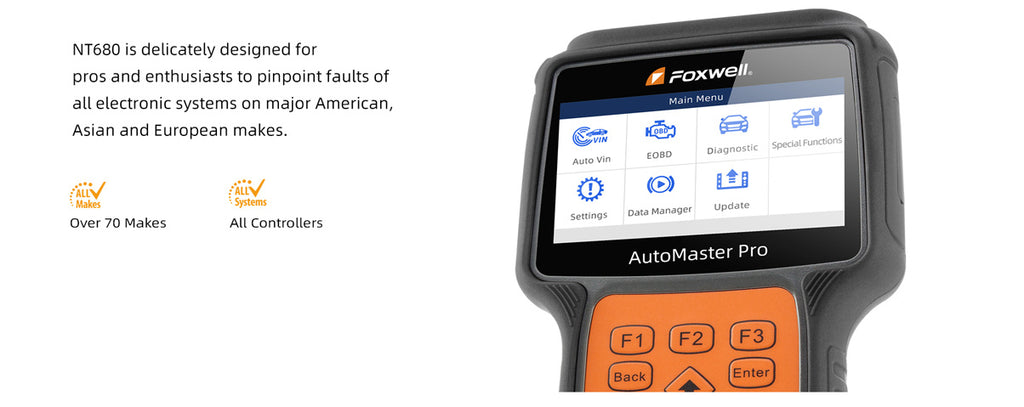 Foxwell NT680 Full System Diagnostic Scanner with Oil Service EPB Reset Functions