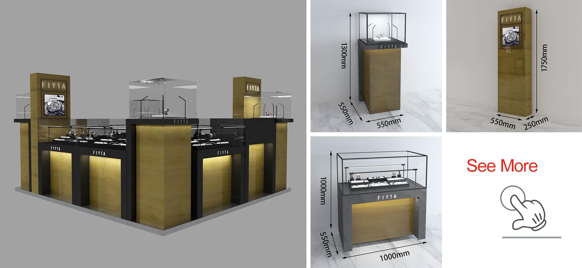FIYTA watch kiosk renderings and display cabinets
