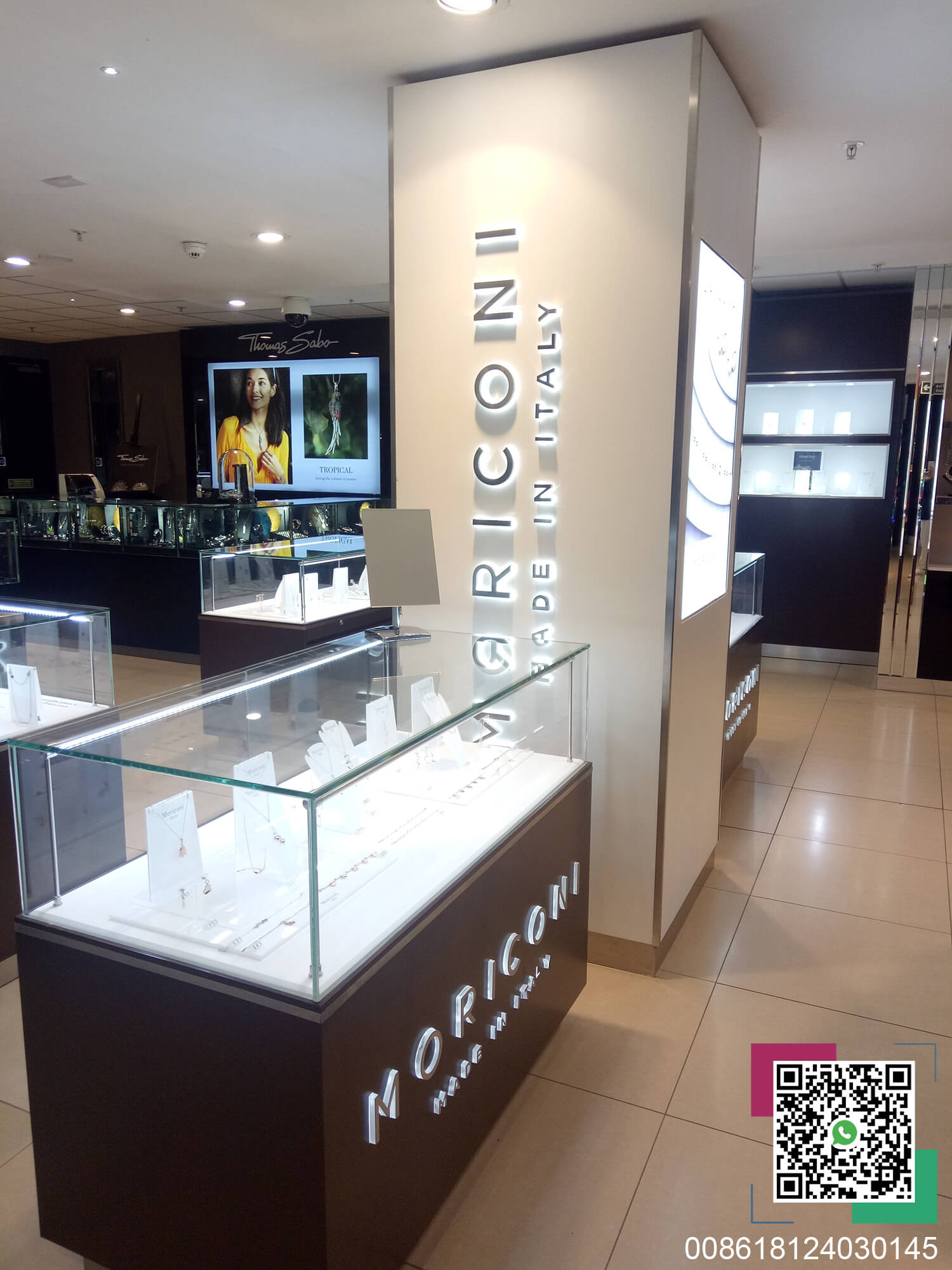 MORICONI jewelry glass display cabinet and image column