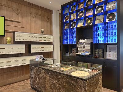 Wood & Marble Eyewear Optical Store with Bar