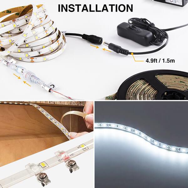 15M LED Strip Lights Kits 6000K Daylight White,  IP65 Waterproof Light Strip, 12V Power Supply with Switch