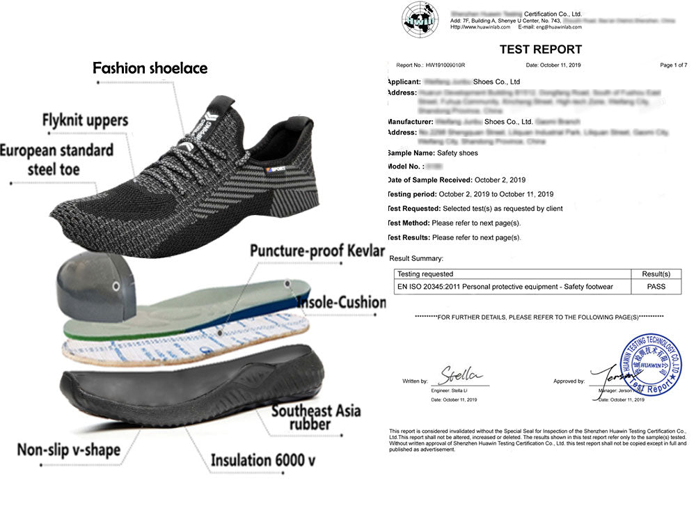 Steel Toe Athletic Shoes Indestructible Shoes 605 certificate