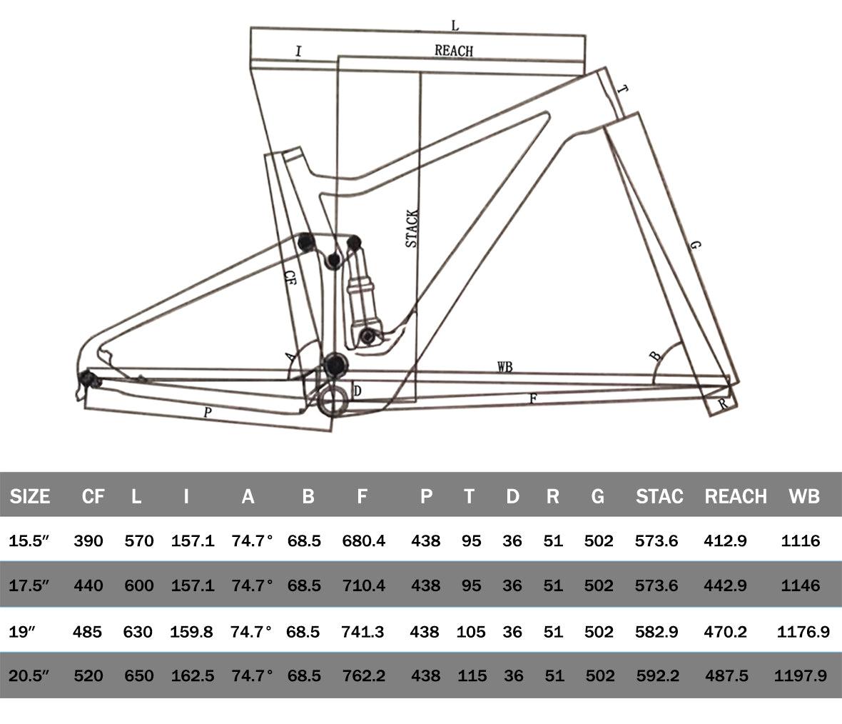 MFM100 Suspension MTB Frame Size Details