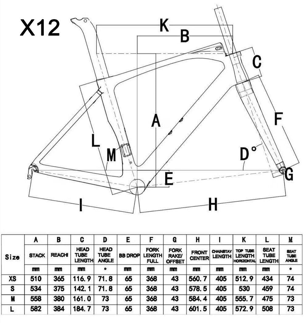 Aero Road Bike Frameset X12 Size