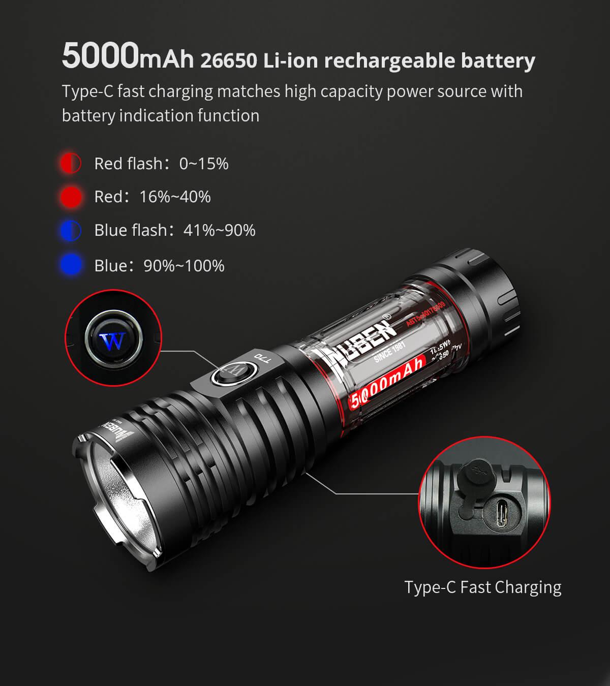 WUBEN T70 4200 High Lumen Taschenlampe