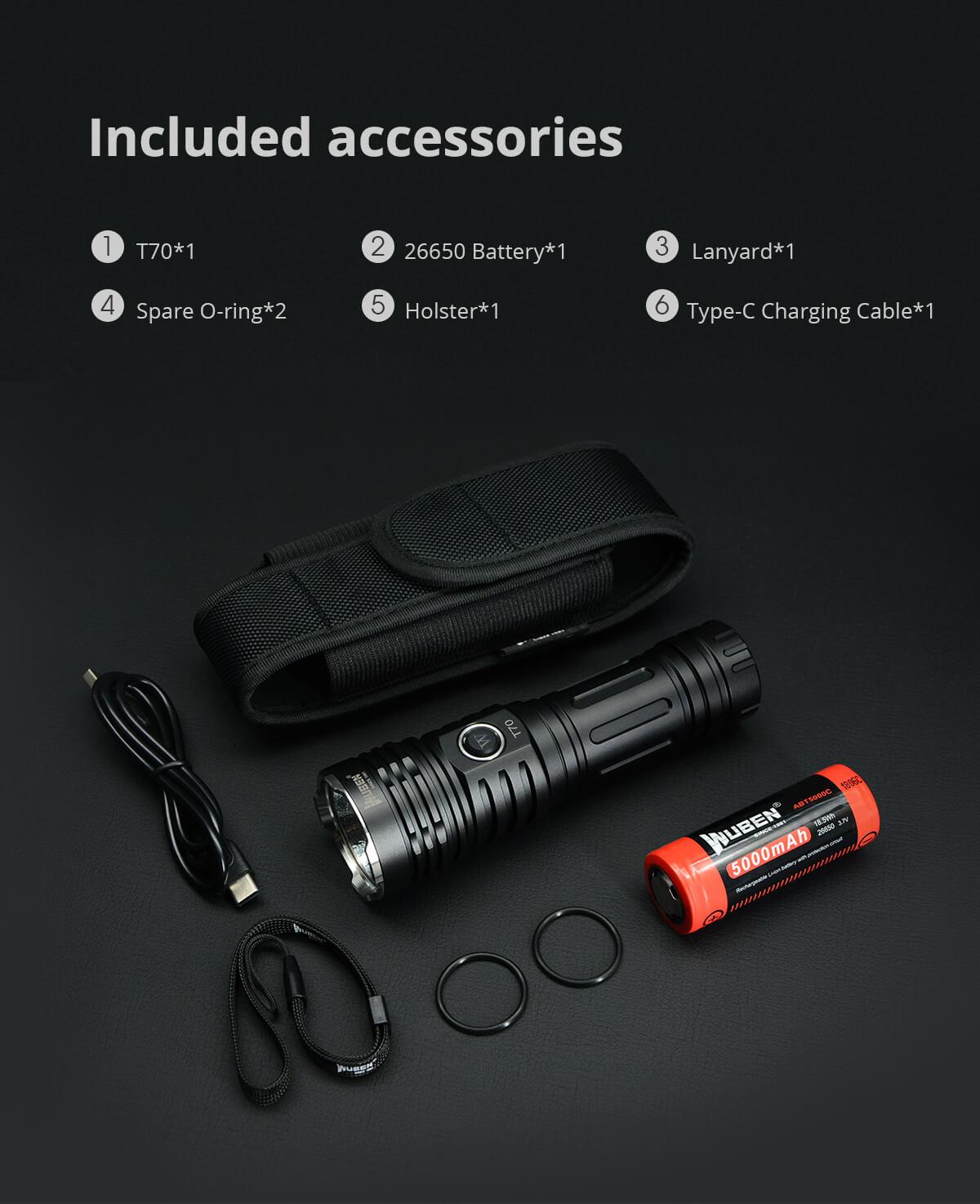 WUBEN T70 LED Taschenlampe Super Bright 4200 High Lumen Typ-C Schnell wiederaufladbar 26650 Akku Wasserdichte Hellste Taschenlampe
