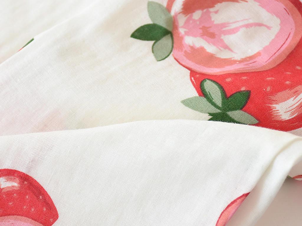 Women Summer Fruit Print Gauze Cotton Pajamas 3 Pieces Set Details 5