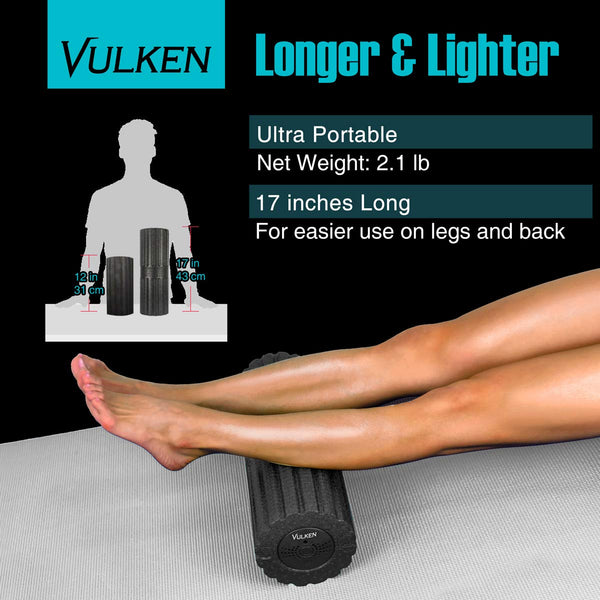 vulken17 inch vibrating foam roller electric muscle roller trigger point foam roller vibration high density foam rolling for runners self massager for deep tissue muscle recovery lower back pain