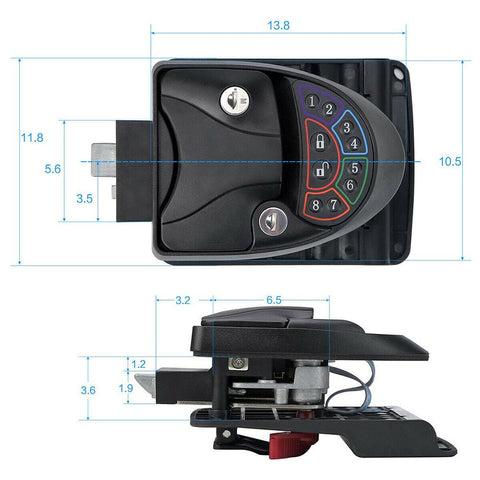 Black Remote-Control Metal RV Keyless Entry Door Lock-1