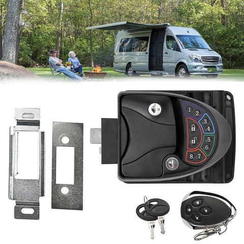 Black Remote-Control Metal RV Keyless Entry Door Lock-3