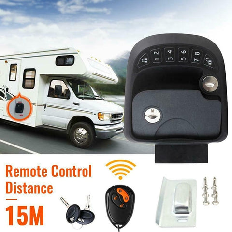 15M Remote-Control Black RV Keyless Entry Door Lock-2