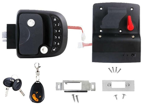 15M Remote-Control Black RV Keyless Entry Door Lock-4