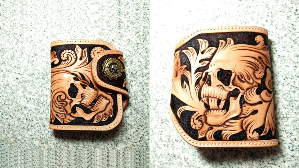 Handmade Leather Small Biker Wallet, Billfold Bifold Biker Wallet, Leather Biker Chain Wallet, Tooled Skull Biker Wallets