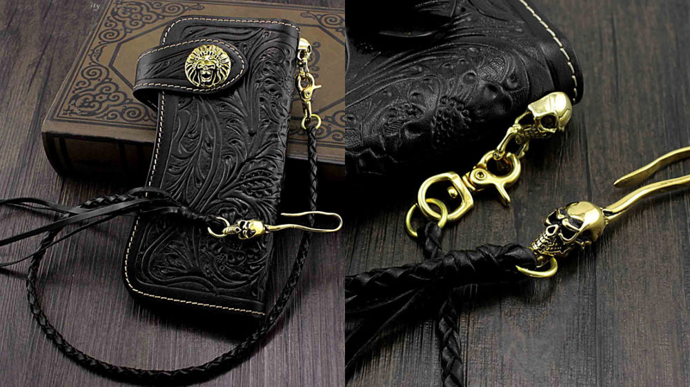 Handmade Leather Biker Wallet, Long Bifold Biker Wallet, Tooled Floral Black Leather Biker Wallet, Black Trucker Wallets with Chains