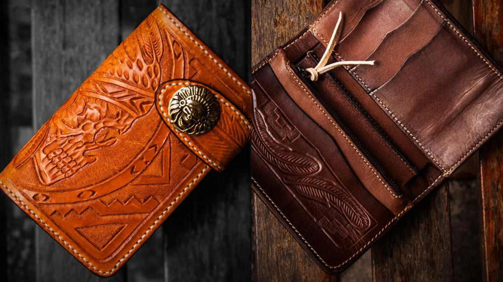 Handmade Leather Biker Wallet, Skull Long Bifold Biker Wallet, Tooled Leather Biker Wallet, Badass Motorcycle Wallets