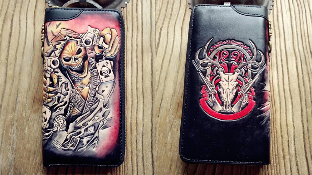 Handmade Leather Biker Wallet, Skull Long Zipper Biker Wallet, Checkbook Leather Biker Wallet, Motorcycle Wallets with Chains