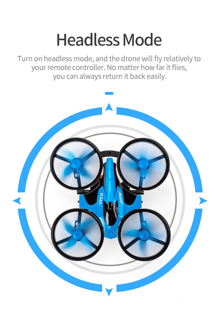 Headless Mode,Turn on headless mode, and the drone will fly relatively to your remote controller.No matter how far it flies, you can always return it back easily.