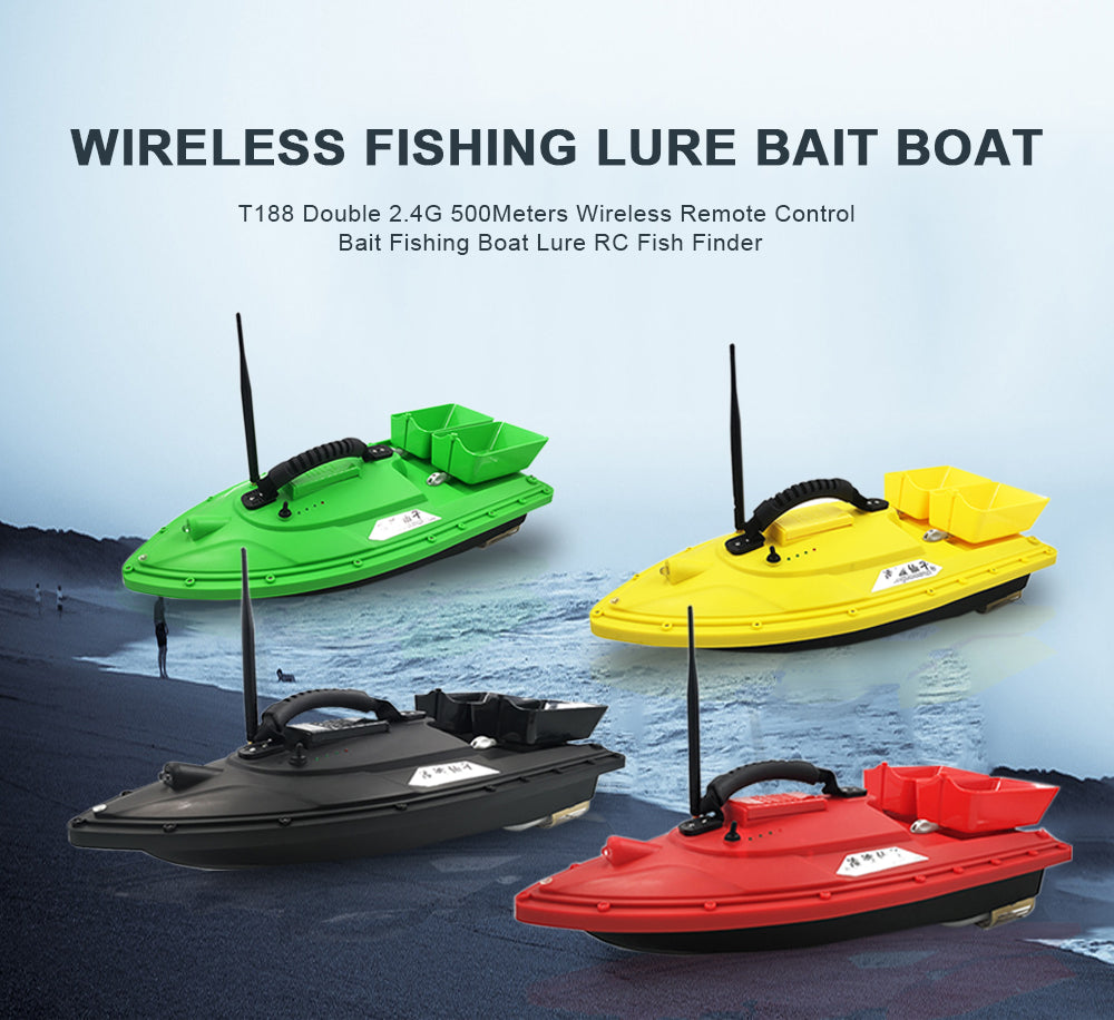 WIRELESS FISHING LURE BAIT BOAT,T188 Double 2.4G 500 Meters Wireless Remote Control Bait Fishing Boat Lure RC Fish Finder