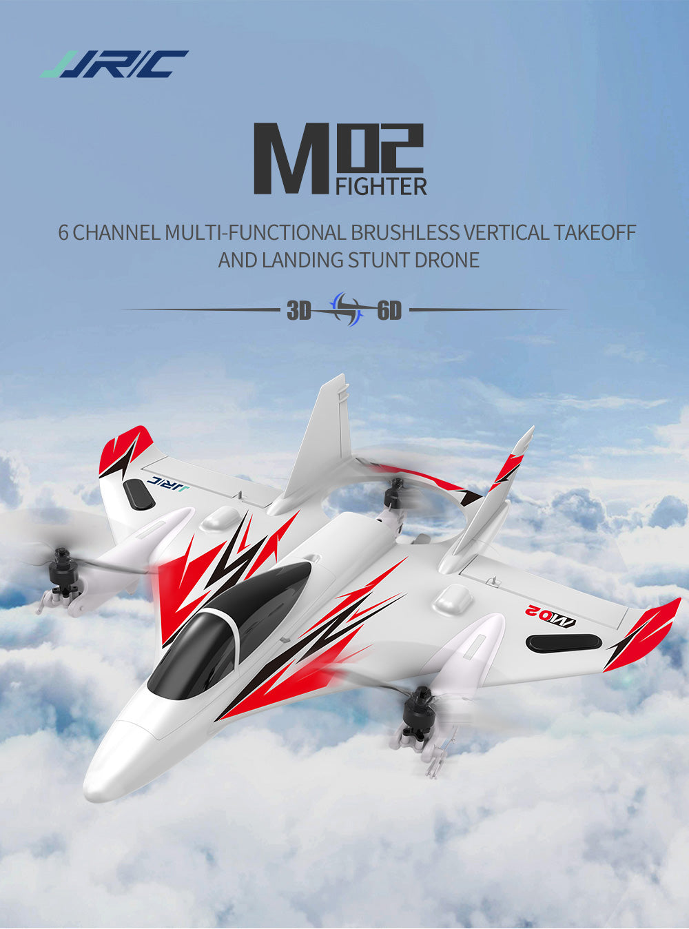 6 CHANNEL MULTI-FUNCTIONAL BRUSHLESS VERTICAL TAKEOFF AND LANDING STUNT DRONE