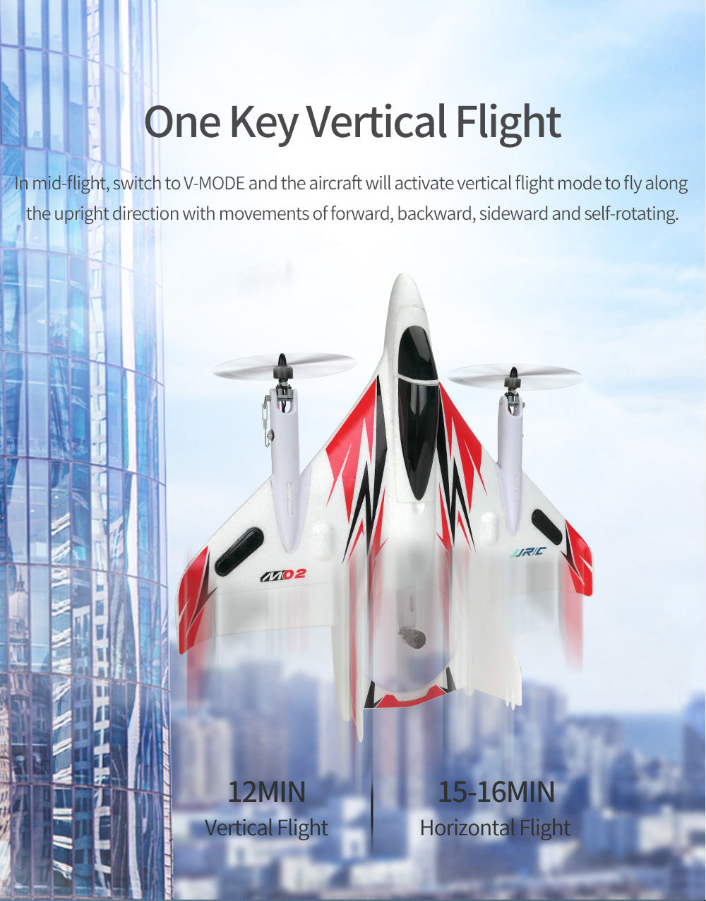 One Key Verti cat Flight,In mid-fight, switch to V-MODE and the aircraft wil activate vertical fight mode to fly along,the upright direction with movements of forward, backward, side ward and self-rotating.