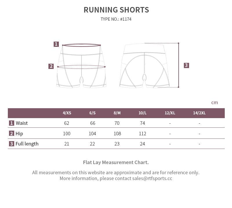 running shorts size chart