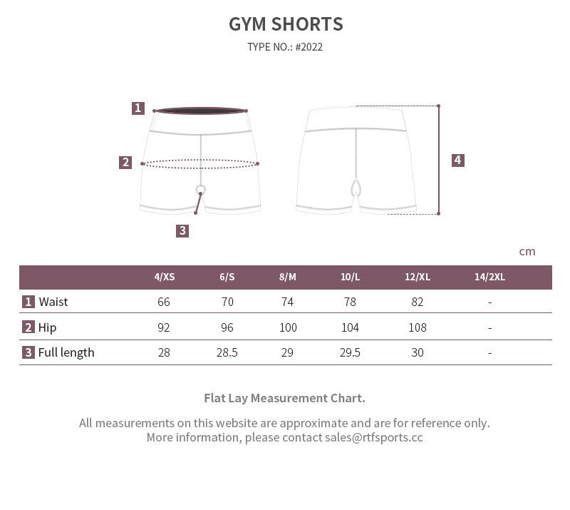 workout shorts size chart