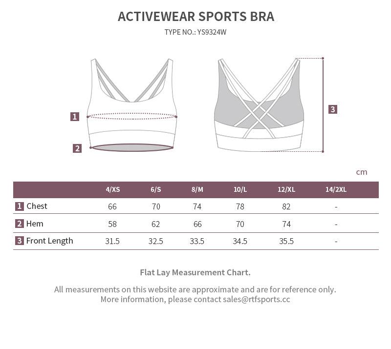 yoga bra size chart