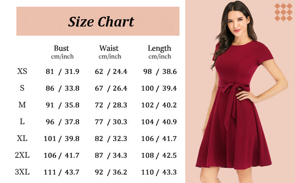 Size Chart Vintage Dresses Daily Scoop Casual Flared Party Dress with Belt | Gardenwed