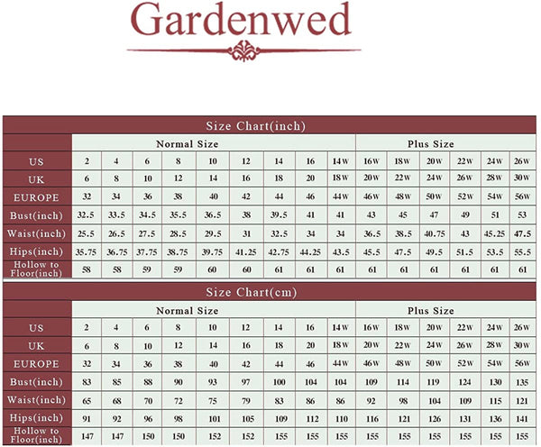 Size Chart Chiffon Dress Long Bridesmaid Dresses Long Prom Dresses Party Dress | Gardenwed