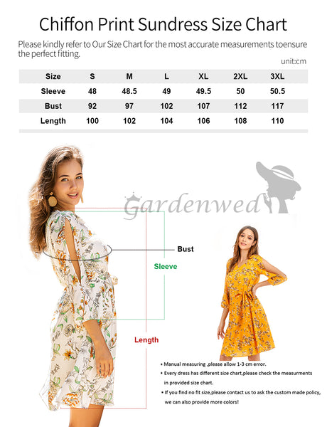 Size Chart GDQC042 Causal Dresses Summer Dress Chiffon Dress Beach Dress | Gardenwed
