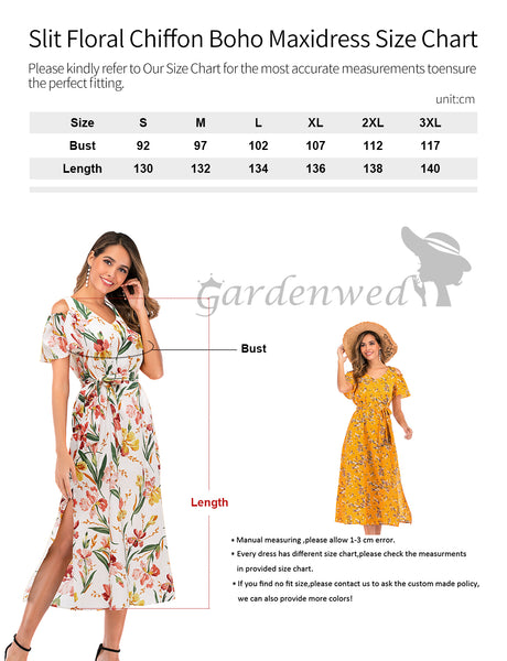 Size Chart Chiffon Dress Casual Dress Beach Dress Summer Sundress | Gardenwed