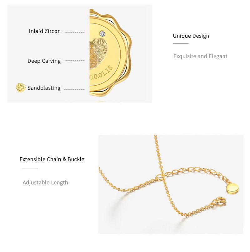 Custom Sculptural Sandblasting Fingerprint 925 Sterling Silver Cubic Zircon Personalized Handmade Wax Seal Necklace