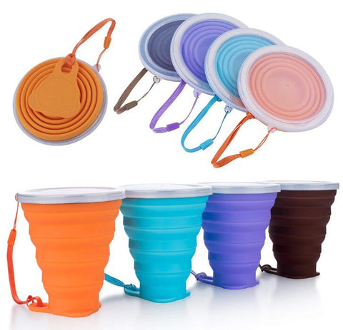 Folding Travel Water Cup Coloured Portable Outdoor Coffee cup BPA FREE Food Grade