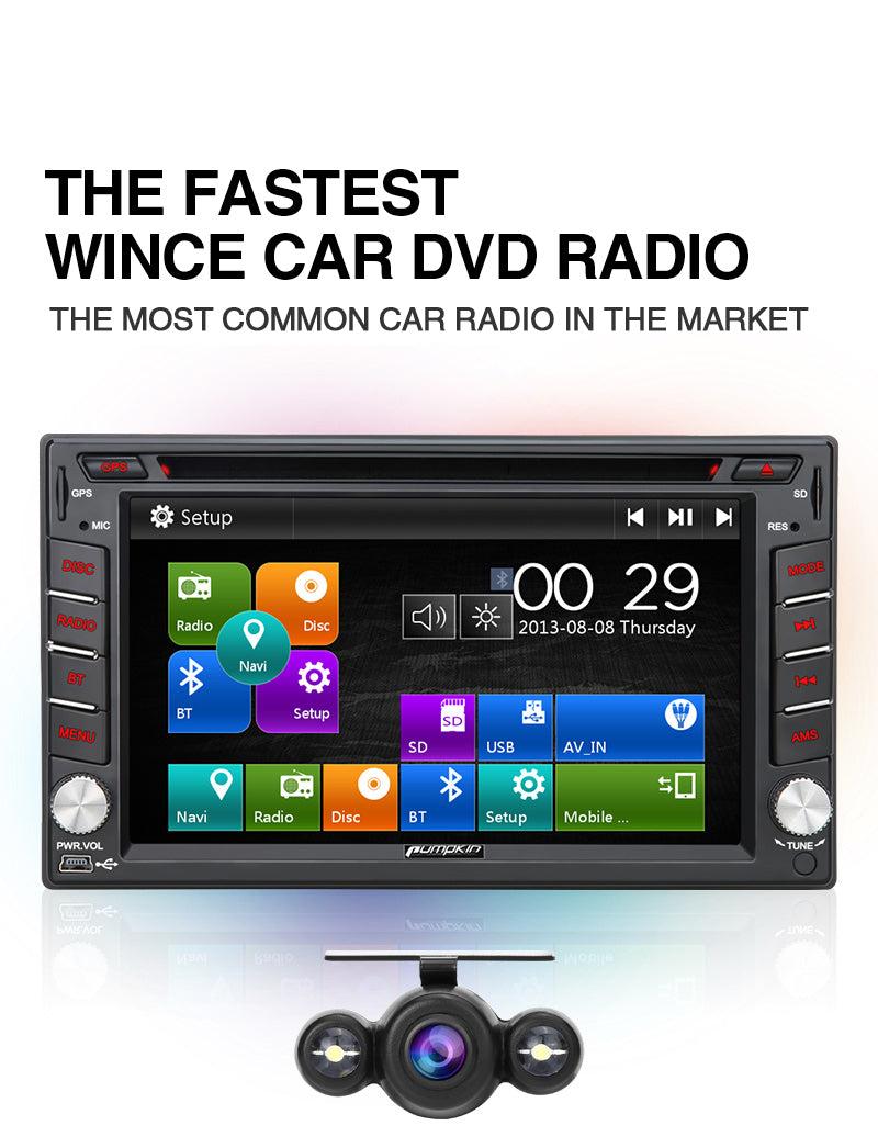 Pumpkin Universal Head Unit Car Sat Nav with 6,2'' Screen Backup Camera Bluetooth, USB SD DVD Player