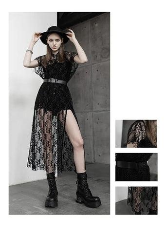 Damen Gothic Casual Full Floral Mesh Kleider