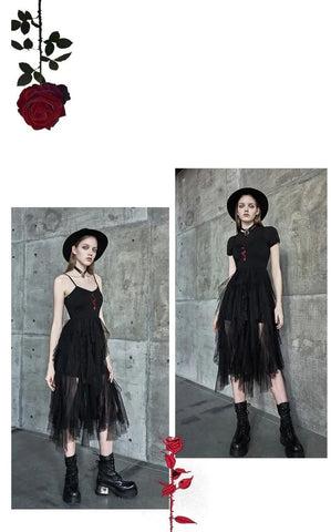 Rose bestickte mehrschichtige Netzkleiderkleider für Damen