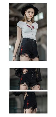 Pantalones cortos rotos de cintura alta gótica para mujer
