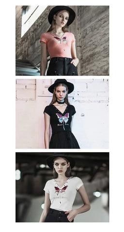 Damen V-Ausschnitt Ösen Schmetterling Muster taillierte T-Shirts