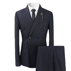 3-Piece Double Breasted Stripe Suit Black