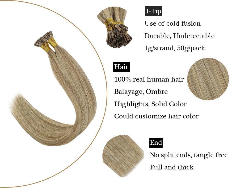 Keratin I Tip Highlights Blonde Human Hair Extensions